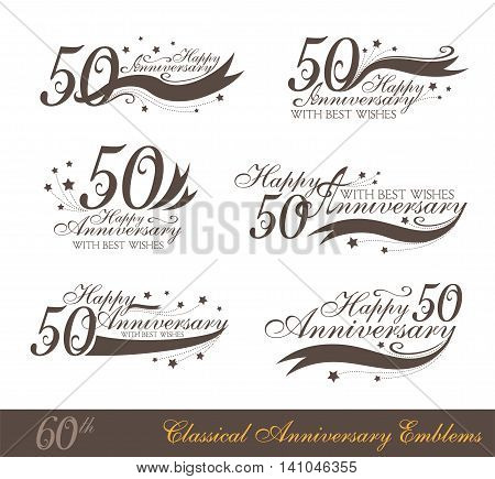 Anniversary 50th sign collection in classic style. Template of anniversary birthday and jubilee emblems with number editable and copy space on the ribbons.