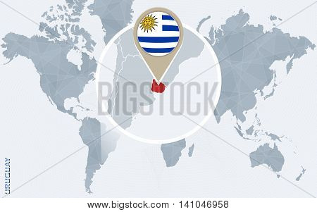 Abstract Blue World Map With Magnified Uruguay.
