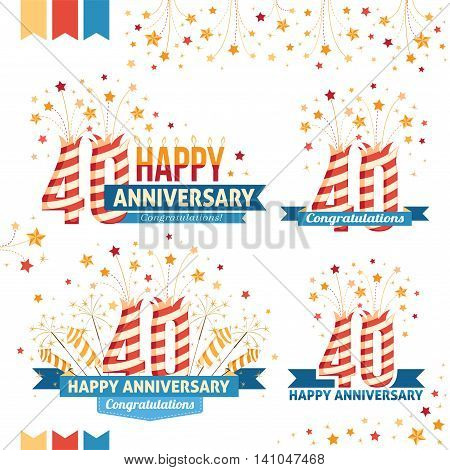 Anniversary 40th emblems with fireworks numbers sparklers and ribbons with congratulations. Set of 40th anniversary design elements.