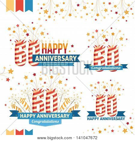 Anniversary 60th emblems with fireworks numbers sparklers and ribbons with congratulations. Set of 60th anniversary design elements.
