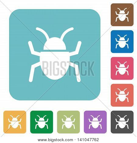 Flat bug icons on rounded square color backgrounds.