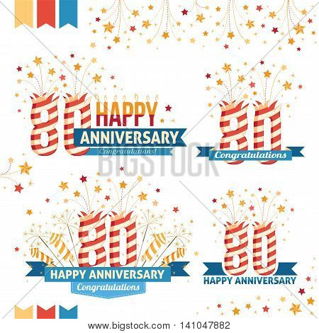 Anniversary 80th emblems with fireworks numbers sparklers and ribbons with congratulations. Set of 80th anniversary design elements.