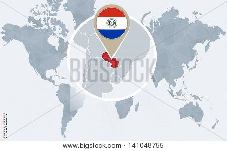 Abstract Blue World Map With Magnified Paraguay.