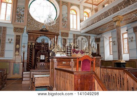 TBILISI, GEORGIA - 7 AUGUST,2013: Interior of the Tbilisi Great Synagogue . The building was built from 1895 to 1903 in an eclectic style by Georgian Jews.