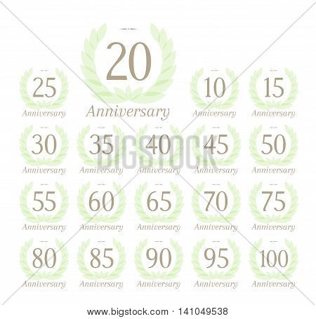 Anniversary sign collection with tender green leaves wreath