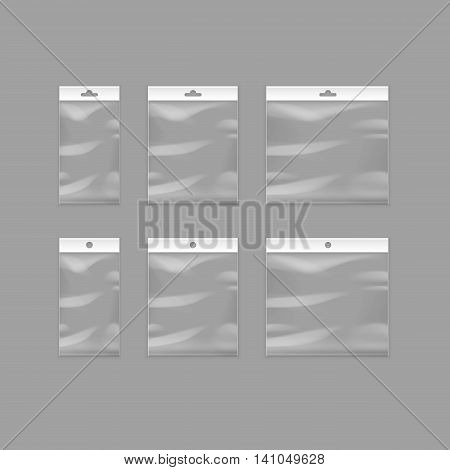 Vector Set of Sealed Empty Transparent Plastic Pocket Bags with Hang Slot Close up Isolated on Background