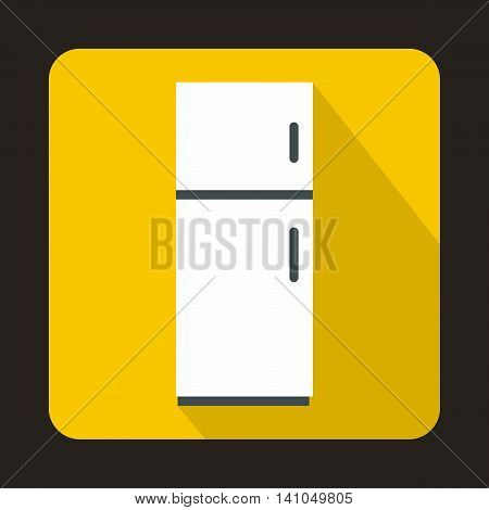 Refrigerator icon in flat style with long shadow. Home appliances symbol