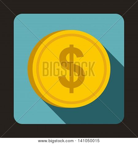 Coin dollar icon in flat style with long shadow. Monetary currency symbol