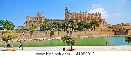 Palma de Majorca Spain - June 25 2008: Cathedral La Seu with Royal Palace Palacio Ral de La Almudaina panorama shot