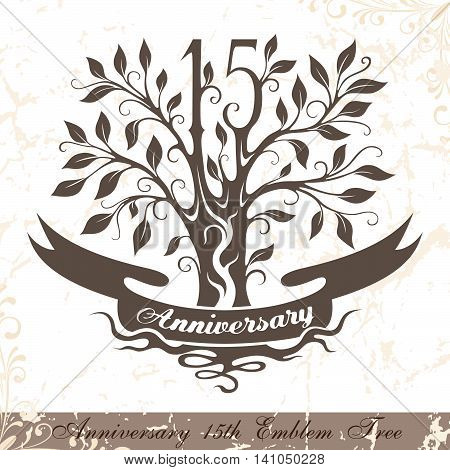 Anniversary 15th emblem tree in classic style. Template of anniversary birthday and jubilee emblem with copy space on the ribbon.