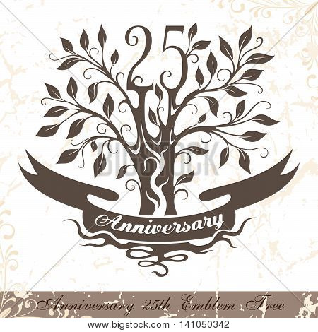 Anniversary 25th emblem tree in classic style. Template of anniversary birthday and jubilee emblem with copy space on the ribbon.