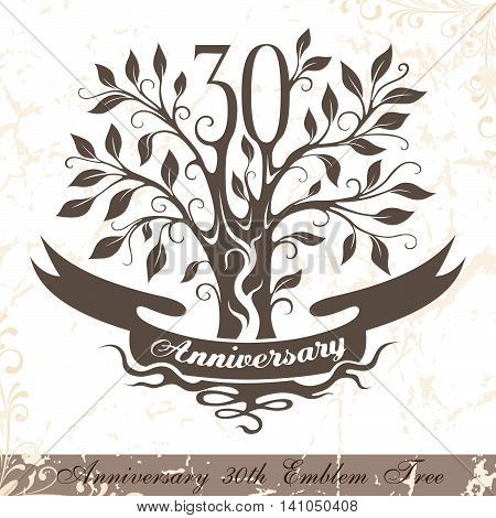 Anniversary 30th emblem tree in classic style. Template of anniversary birthday and jubilee emblem with copy space on the ribbon.