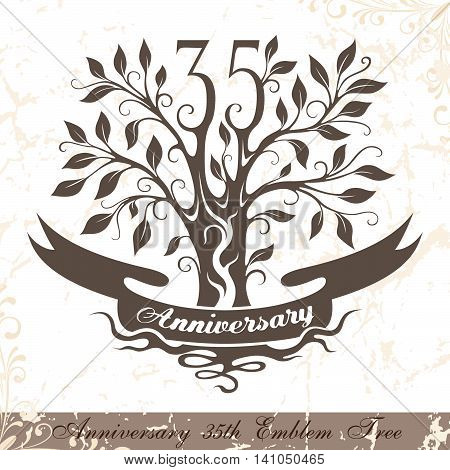 Anniversary 35th emblem tree in classic style. Template of anniversary birthday and jubilee emblem with copy space on the ribbon.