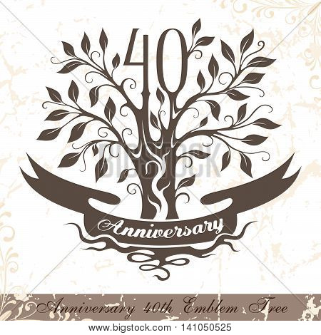Anniversary 40th emblem tree in classic style. Template of anniversary birthday and jubilee emblem with copy space on the ribbon.