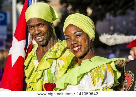QUARTU S.E. ITALY - July 15 2016: 30 ^ Sciampitta - International festival of folklore - Maraguan Group Camarguey University (Havana - Cuba) - Sardinia
