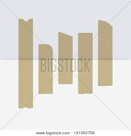 Vector Set of Adhesive Masking Paper Sticky Scotch Strip Tapes Isolated on White Background