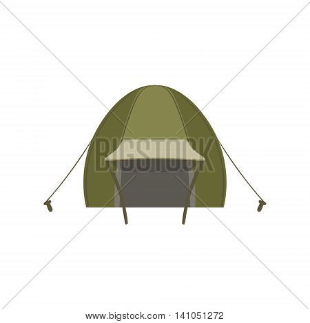 Green Tent Set With Ropes And Pegs Bright Color Cartoon Simple Style Flat Vector Illustration Isolated On White Background