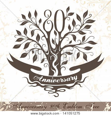 Anniversary 80th emblem tree in classic style. Template of anniversary birthday and jubilee emblem with copy space on the ribbon.