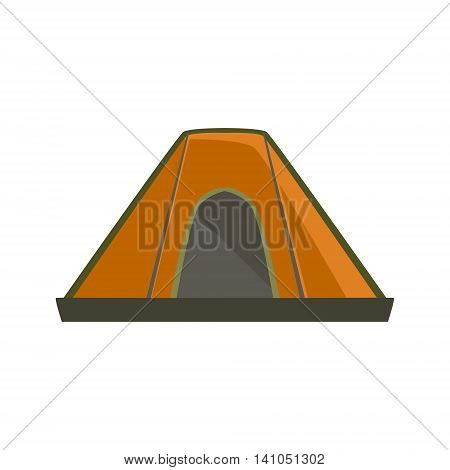 Orange Tarpaulin Camping Tent Bright Color Cartoon Simple Style Flat Vector Illustration Isolated On White Background