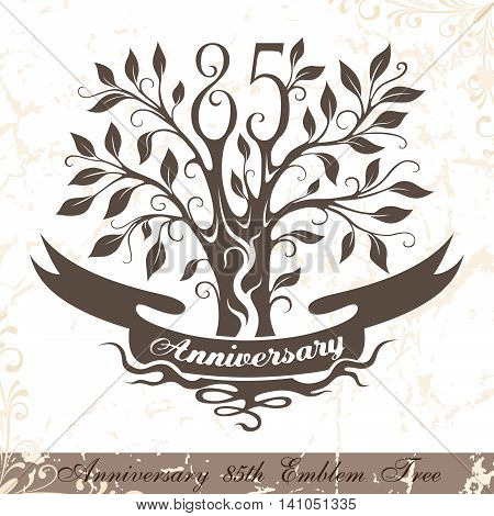 Anniversary 85th emblem tree in classic style. Template of anniversary birthday and jubilee emblem with copy space on the ribbon.