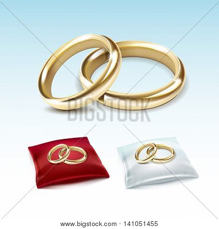 Vector Set of Gold Wedding Rings on Red White Satin Pillow Isolated on White Background