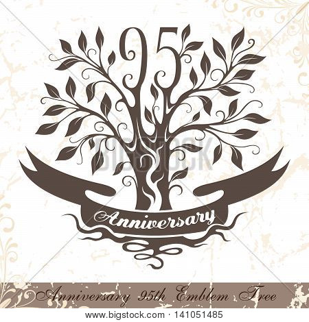 Anniversary 95th emblem tree in classic style. Template of anniversary birthday and jubilee emblem with copy space on the ribbon.