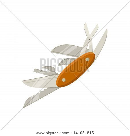 Multitool Knife With Open Blades Bright Color Cartoon Simple Style Flat Vector Illustration Isolated On White Background
