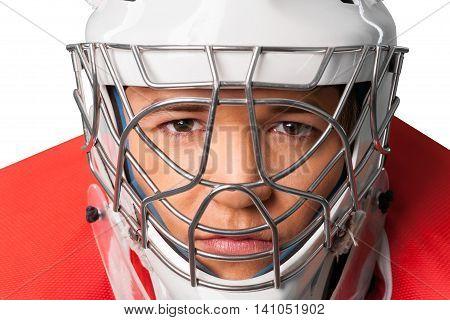 Portrait of Hockey Goalie Isolated on Transparent Background