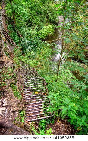 Metal ladder hiking trail in Slovak Paradise Slovakia.