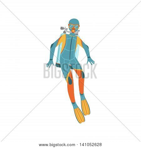 Man Diving In Full Suit With Hood, Rebreather And Twin Bottles Bright Color Cartoon Simple Style Flat Vector Illustration Isolated On White Background