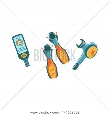 Set OF Diving Gear, Console, Open-heel Fins And Regulator Bright Color Cartoon Simple Style Flat Vector Illustration Isolated On White Background