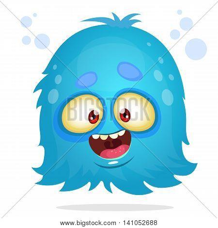 Vector cartoon Halloween monster. Blue furry flying monster with big eyes. Blue monster vector icon