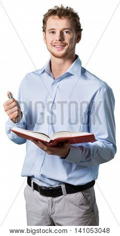 young professor teaching while holding a pen and a book