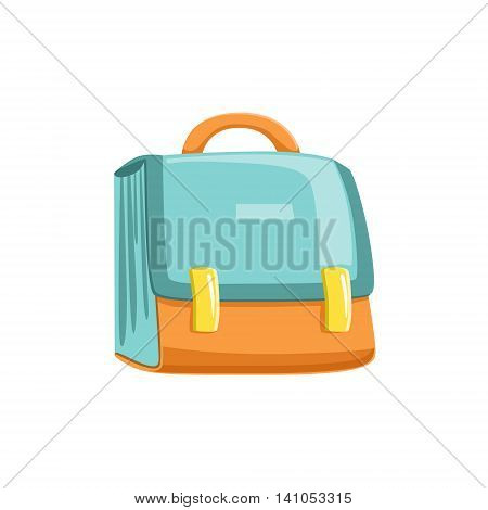 Blue And Orange Schoolbag Bright Color Cartoon Simple Style Flat Vector Illustration Isolated On White Background