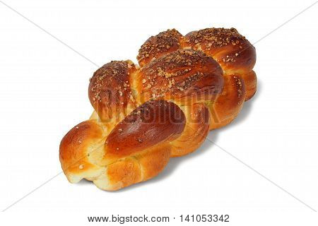 Big challah bun isolated on white background