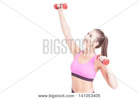 Attractive Lady Training With Pair Of Weights