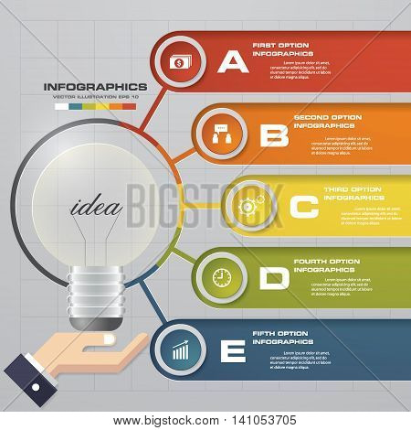 Simple and Editable light bulb infographics with 5 steps order diagram/sample text. EPS10.