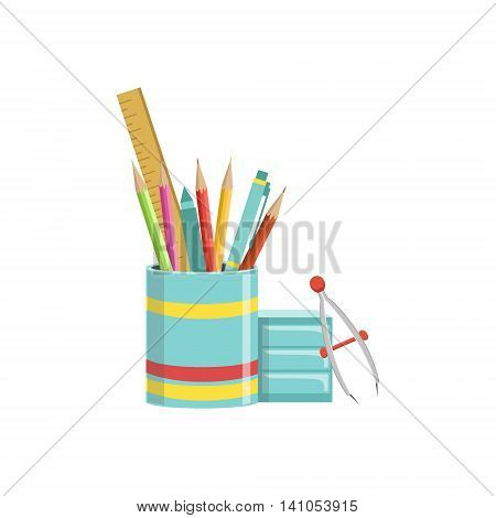 Set of School Utensils In Plactic Cup Bright Color Cartoon Simple Style Flat Vector Illustration Isolated On White Background