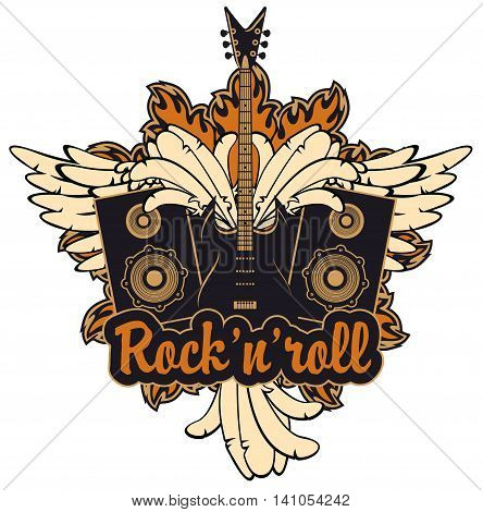 emblem with an electric guitar wings speakers and inscription rock and roll