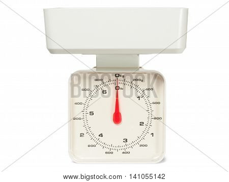 White kitchen scales isolated on white background