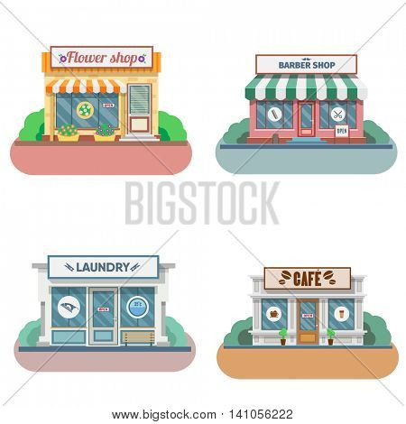 Set of vector flat design shops facade icons. Includes shop,newspaper,coffee shop, flower shop, laundry, barber. Vector Illustration.