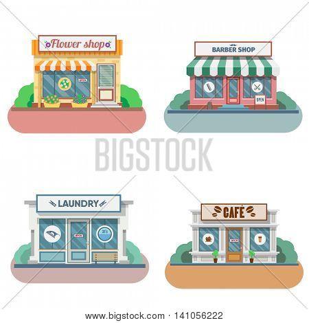 Set of vector flat design shops facade icons. Includes shop,newspaper,coffee shop, flower shop, laundry, barber. Vector Illustration.