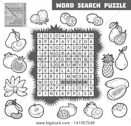Vector Colorless Crossword About Fruits. Word Search Puzzle