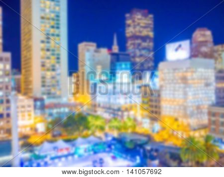 Abstract blur of cityscape view of San Francisco, California, USA