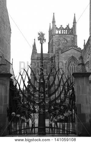 Decorative gates and the old abbey church tower in Dunfermline