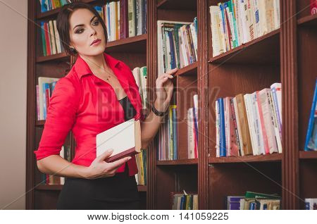 Beautiful Young Brown-haired Woman In Office Attire Standing Nea