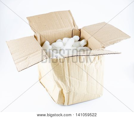 Open Crumpled Brown Box With White Foam Shockproof Inside Isolated On White Background