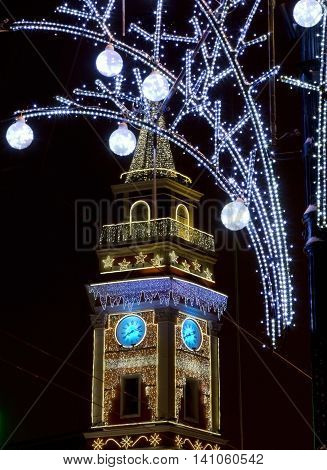 St. Petersburg Nevsky Prospect illuminated by lights at night the Russian Federation city Council