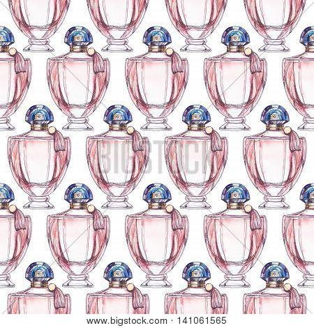 Perfume bottle cool seamless pattern watercolor illustration