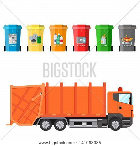 Different colored recycle waste bins and garbage truck vector illustration, Waste management concept Separation of waste on garbage cans. Sorting waste for recycling Vector illustration in flat design